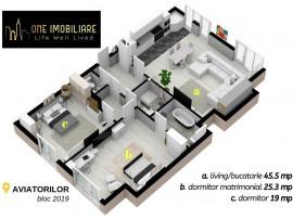 Apartament de lux Aviatorilor 2019 | Curte 100mp | 2 Parcari