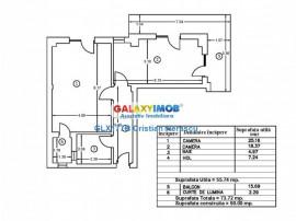 Apartament 2 camere 74 mpu decomandat et 1 Bucurestii Noi