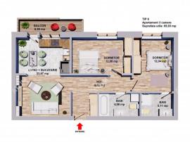 Apartament 3 camere decomandate 2 bai si balcon la etajul 2