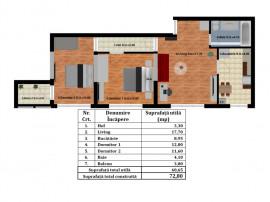 Apartament 3 camere, Bloc nou din cărămidă Rahova