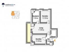 Apartament nou cu 3 camere - semidecomandat - 65.78 mp utili