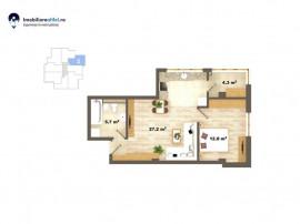 Apartament nou cu 2 camere - open space - 50 mp