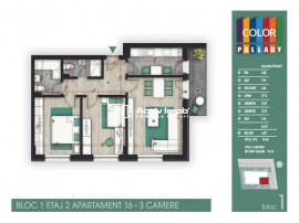 Titanul Nou,3 camere decomandat,2 grupuri sanitare,etaj 2/3,