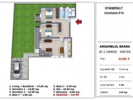 Apartament 3 camere cu gradina pe strada Brana, Selimbar