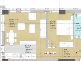 Apartament 2 camere 54 mp,terasa 10 mp, lift, semifinisat