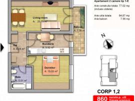 Apartament 2 camere / 65 mp utili/dobroesti fundeni