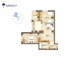 Apartament nou cu 3 camere - open space - 66 mp