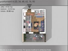 Garsoniera decomandata cu balcon de 14 mp | Titan - Pallady