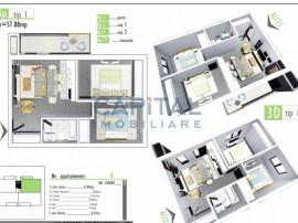 Apartament cu 3 camere imobil nou,semi-decomandat, 58mp, bal