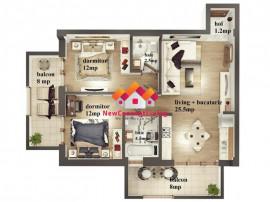 Apartament 3 camere cu 2 Balcoane + Parcare - Zona de Vest