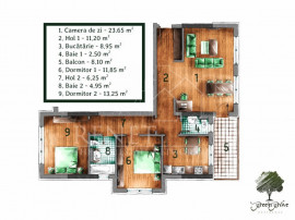 Apartament 3 camere decomandat Green Grove Residence - Comis