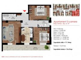 Apartament 3 camere-Metrou Berceni-Popesti Leordeni