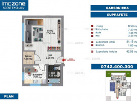 Garsonieră spațioasă, 41 mp utili, balcon, BLOC NOU, F...