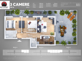 Apartament superb 3 camere decomandate cu Terasa 59 mp FINAL