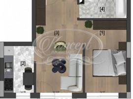 Apartament cu 2 camere, semifinisat in Riverside Residence