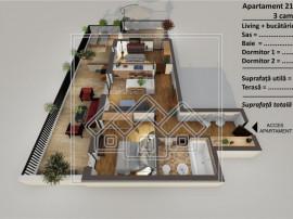Penthouse 3 camere, terasa 62 mp, lift si parcare subterana