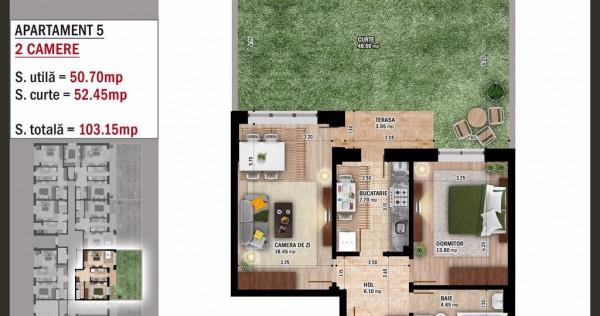 Apartament 2 camere + Gradina = Cel mai bun pret!