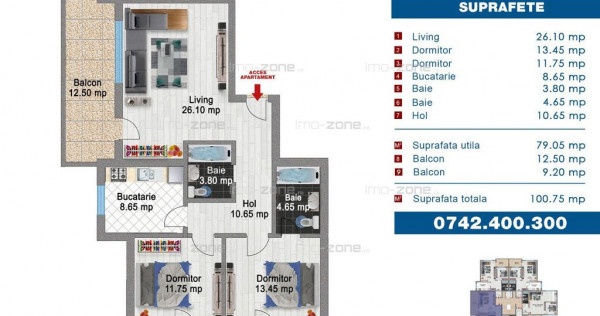 3 camere, 101 mp utili, decomandat, Bloc Nou, Drumul Tabe...