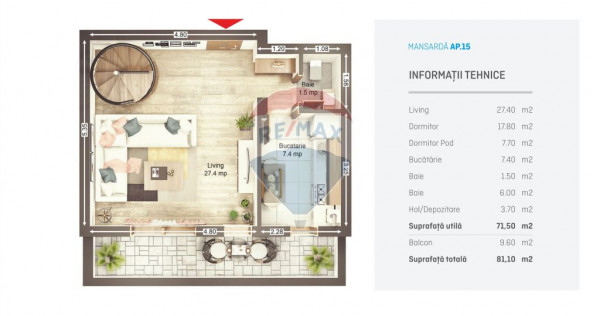 UNO Brasov - Apartament nr 15 C1 - finalizare August 2020