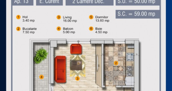 Apartament 2 camere - decomandat - Pollux Residence