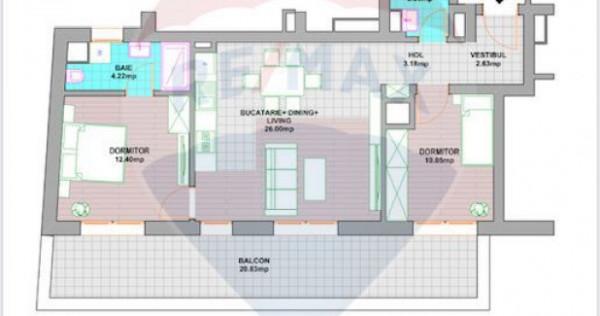 Apartament 3 camere cu 21m terasă, etaj 3, zona Avram Ia...