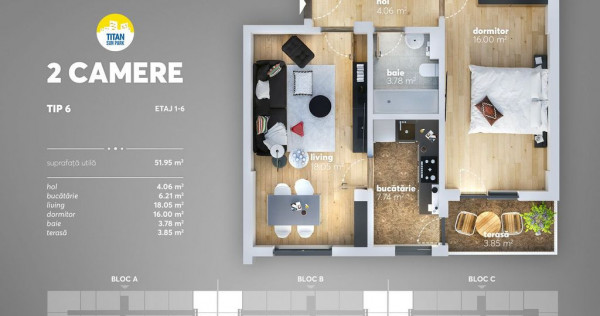 Apartament 2 camere Titan - Pallady- metrou Nicolae Teclu