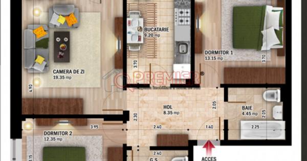 Apartament cu 3 cam - spate Primarie Popesti- Leordeni
