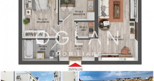 Apartament 2 camere decomandat, 54 mp+balcon 4.63 mp, Selimb