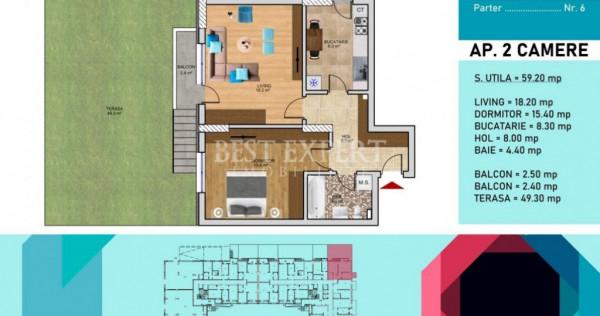 Apartament exceptional 2 Camere cu GRADINA 49 mp Sectorul 3