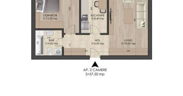 Aparteament 2 camere, metrou Berceni